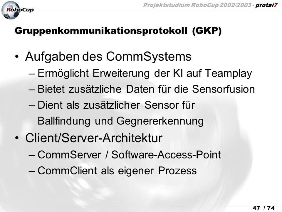 Projektstudium RoboCup 2002/2003 - protai7 47 / 74 Gruppenkommunikationsprotokoll (GKP) Aufgaben des CommSystems –Ermöglicht Erweiterung der KI auf Te