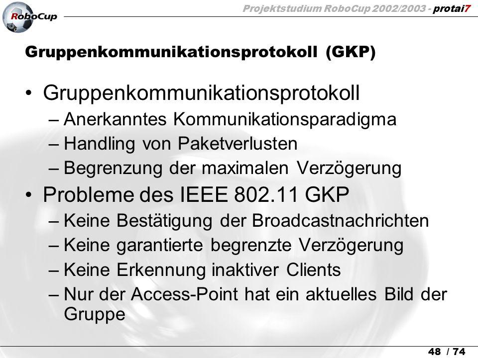 Projektstudium RoboCup 2002/2003 - protai7 48 / 74 Gruppenkommunikationsprotokoll (GKP) Gruppenkommunikationsprotokoll –Anerkanntes Kommunikationspara