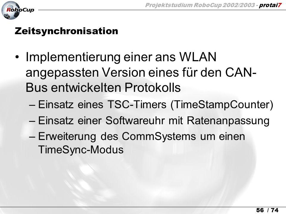 Projektstudium RoboCup 2002/2003 - protai7 56 / 74 Zeitsynchronisation Implementierung einer ans WLAN angepassten Version eines für den CAN- Bus entwi