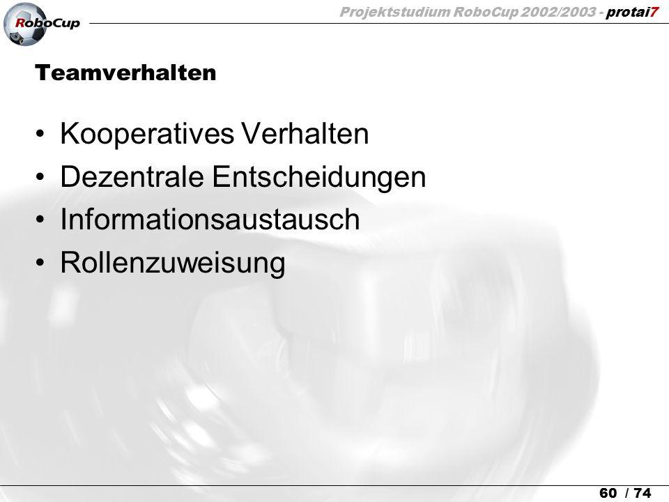 Projektstudium RoboCup 2002/2003 - protai7 60 / 74 Teamverhalten Kooperatives Verhalten Dezentrale Entscheidungen Informationsaustausch Rollenzuweisun