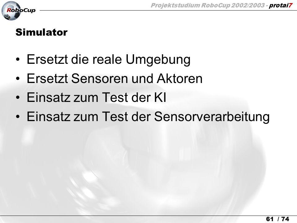 Projektstudium RoboCup 2002/2003 - protai7 61 / 74 Simulator Ersetzt die reale Umgebung Ersetzt Sensoren und Aktoren Einsatz zum Test der KI Einsatz z