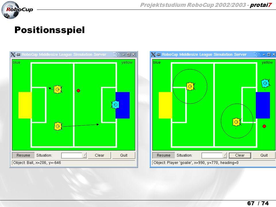 Projektstudium RoboCup 2002/2003 - protai7 67 / 74 Positionsspiel