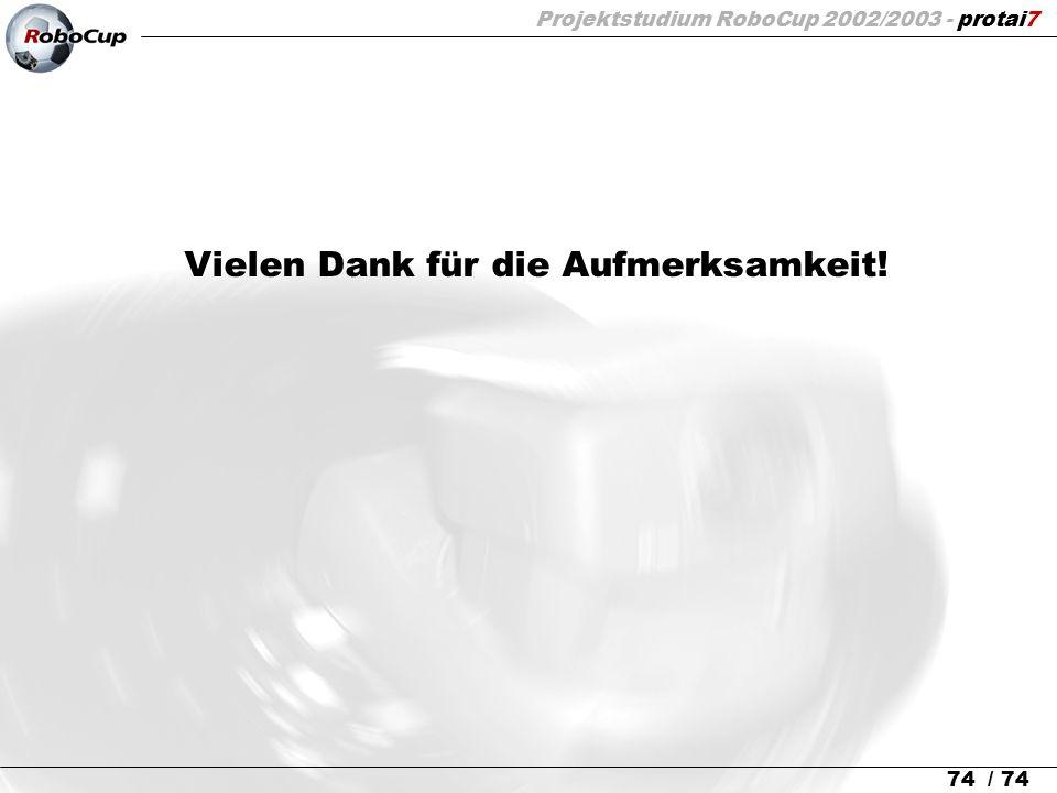 Projektstudium RoboCup 2002/2003 - protai7 74 / 74 Vielen Dank für die Aufmerksamkeit!