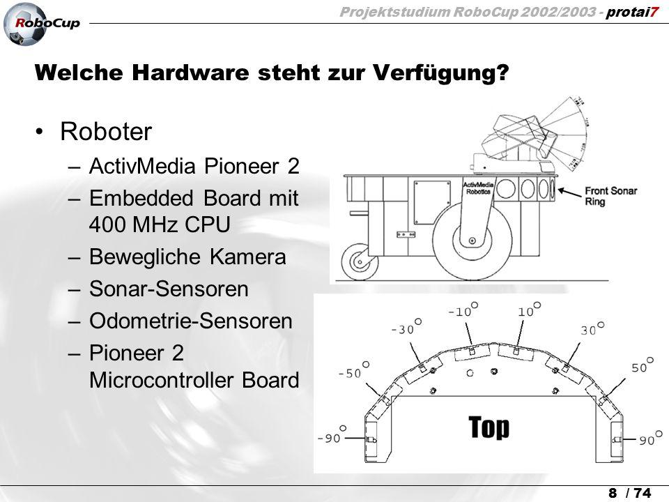 Projektstudium RoboCup 2002/2003 - protai7 8 / 74 Welche Hardware steht zur Verfügung? Roboter –ActivMedia Pioneer 2 –Embedded Board mit 400 MHz CPU –