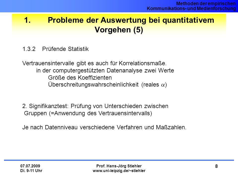 Methoden der empirischen Kommunikations- und Medienforschung 07.07.2009 Di.