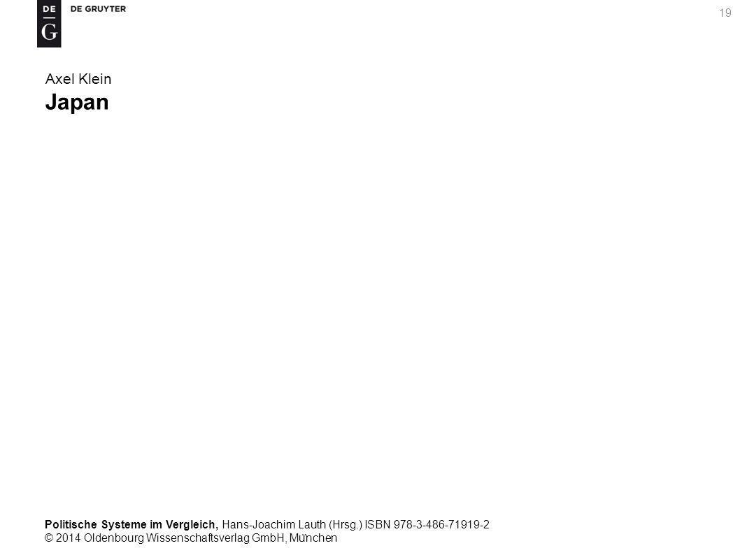 Politische Systeme im Vergleich, Hans-Joachim Lauth (Hrsg.) ISBN 978-3-486-71919-2 © 2014 Oldenbourg Wissenschaftsverlag GmbH, Mu ̈ nchen 19 Axel Klein Japan