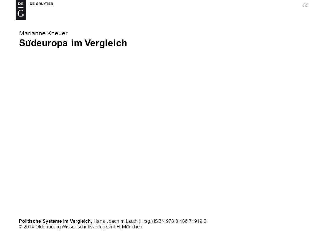 Politische Systeme im Vergleich, Hans-Joachim Lauth (Hrsg.) ISBN 978-3-486-71919-2 © 2014 Oldenbourg Wissenschaftsverlag GmbH, Mu ̈ nchen 50 Marianne Kneuer Su ̈ deuropa im Vergleich