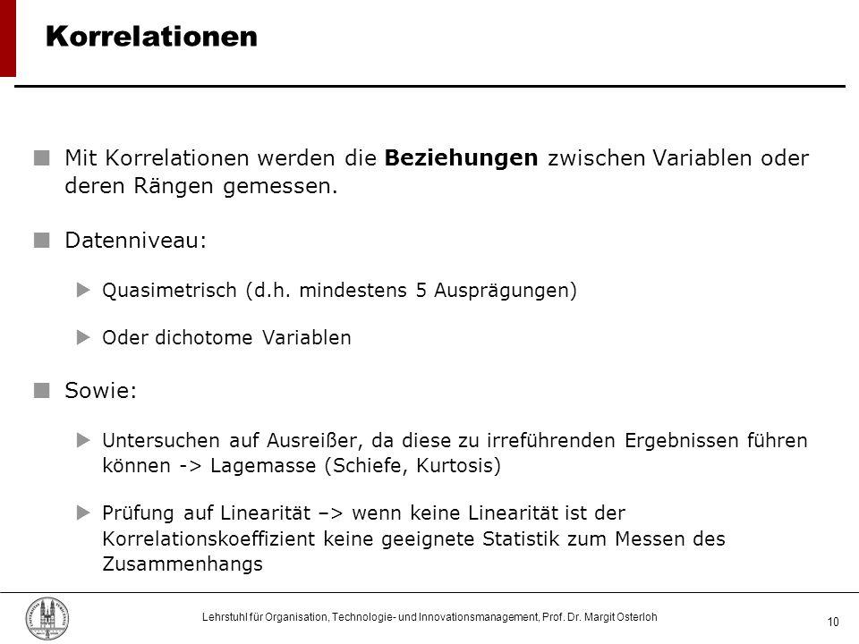 Lehrstuhl für Organisation, Technologie- und Innovationsmanagement, Prof. Dr. Margit Osterloh 10 Korrelationen Mit Korrelationen werden die Beziehunge