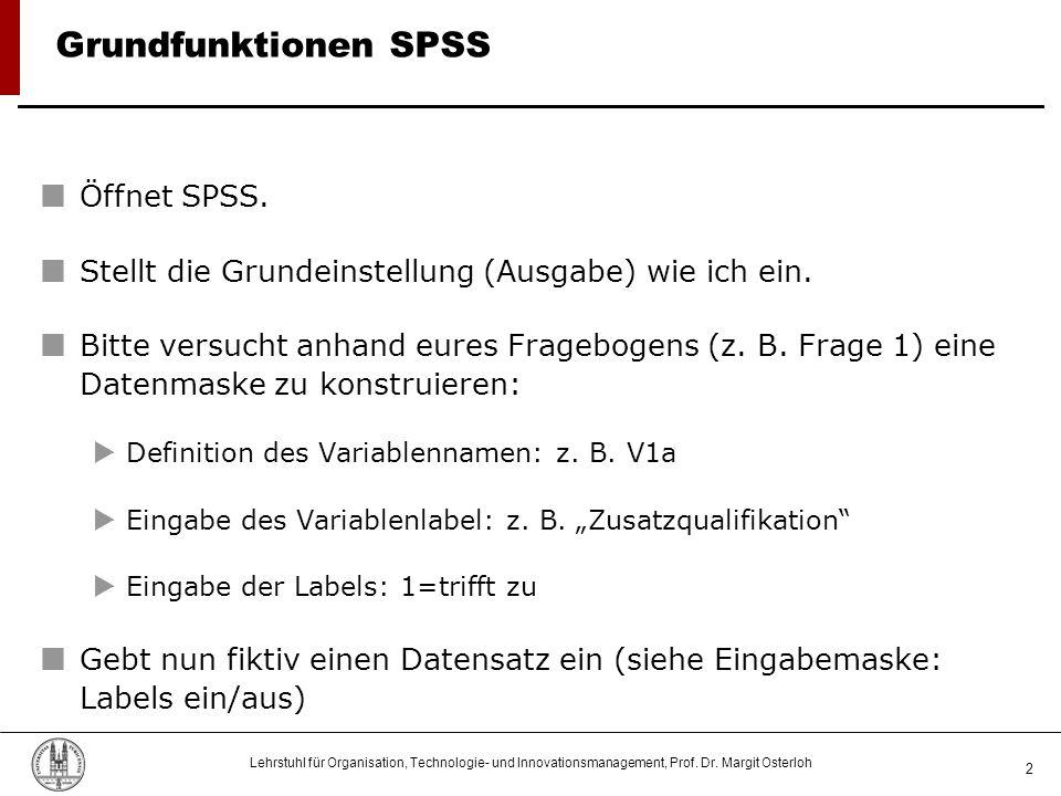 Lehrstuhl für Organisation, Technologie- und Innovationsmanagement, Prof. Dr. Margit Osterloh 2 Grundfunktionen SPSS Öffnet SPSS. Stellt die Grundeins
