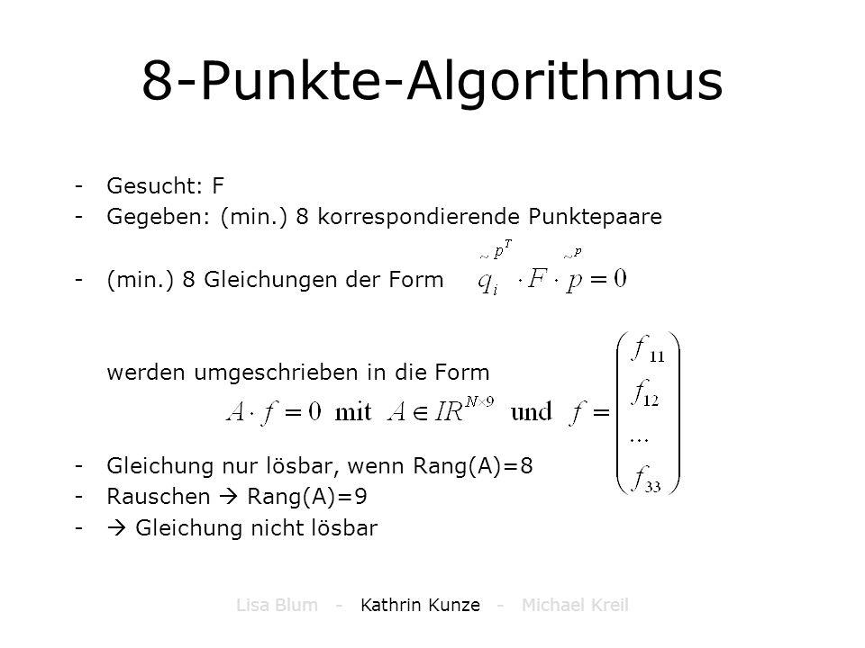 8-Punkte-Algorithmus -Gesucht: F -Gegeben: (min.) 8 korrespondierende Punktepaare -(min.) 8 Gleichungen der Form werden umgeschrieben in die Form -Gle