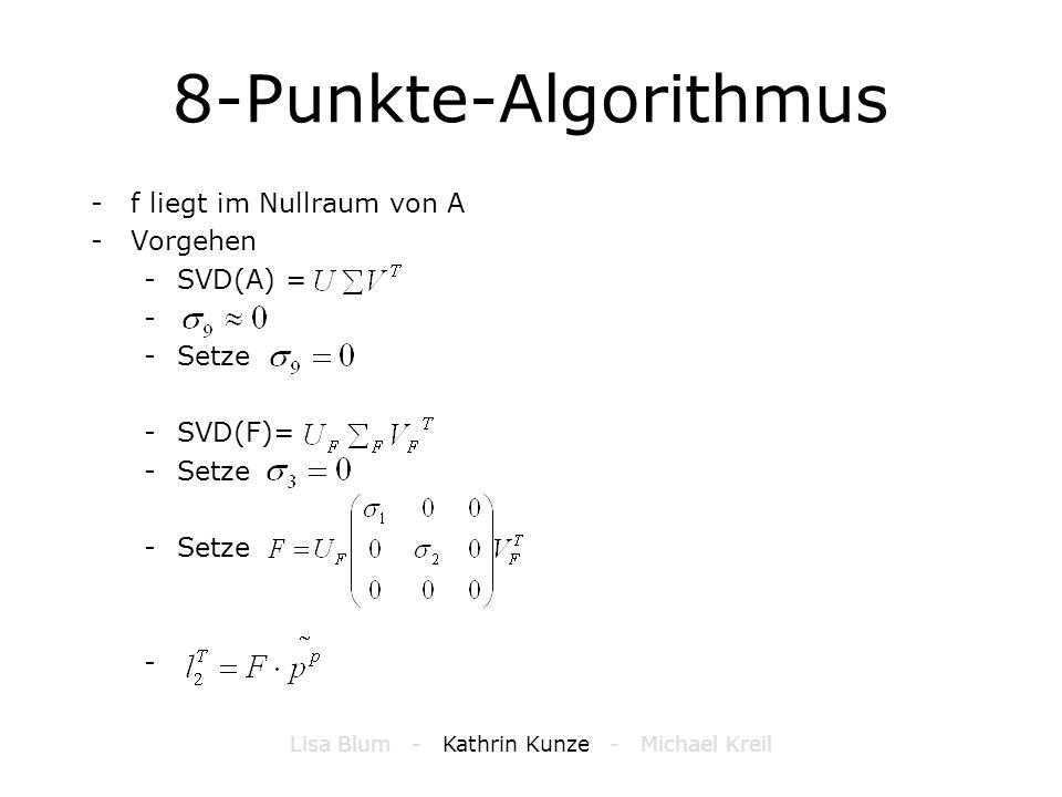 8-Punkte-Algorithmus -f liegt im Nullraum von A -Vorgehen -SVD(A) = - -Setze -SVD(F)= -Setze - Lisa Blum - Kathrin Kunze - Michael Kreil