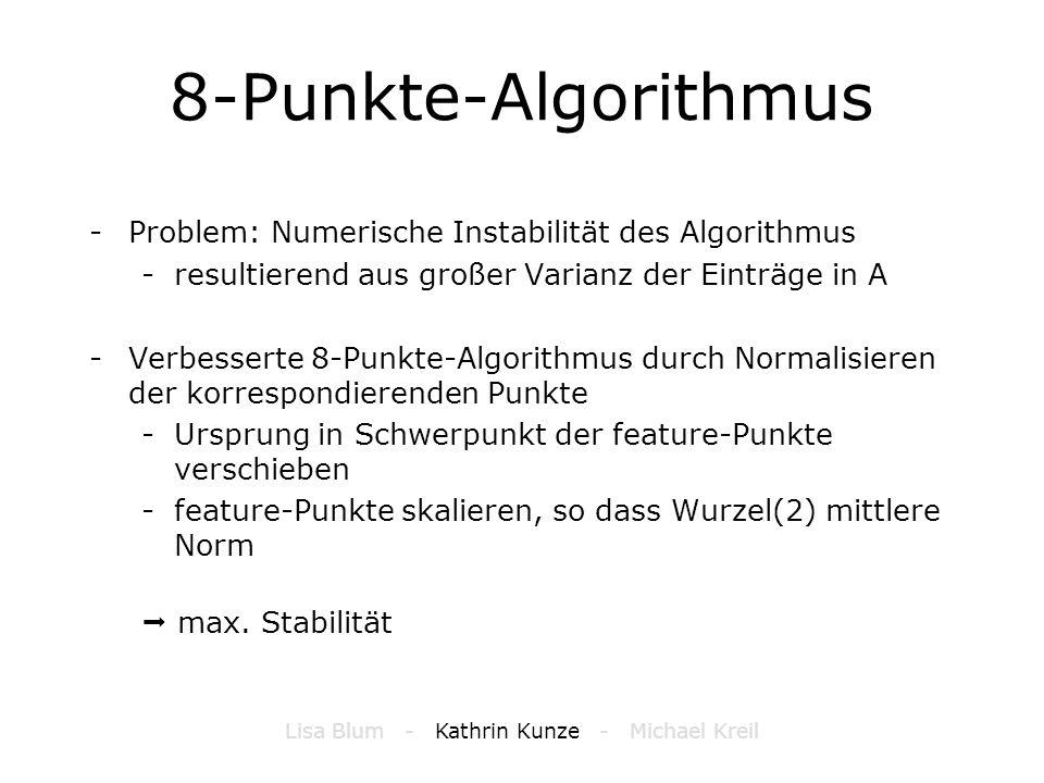 8-Punkte-Algorithmus -Problem: Numerische Instabilität des Algorithmus -resultierend aus großer Varianz der Einträge in A -Verbesserte 8-Punkte-Algori