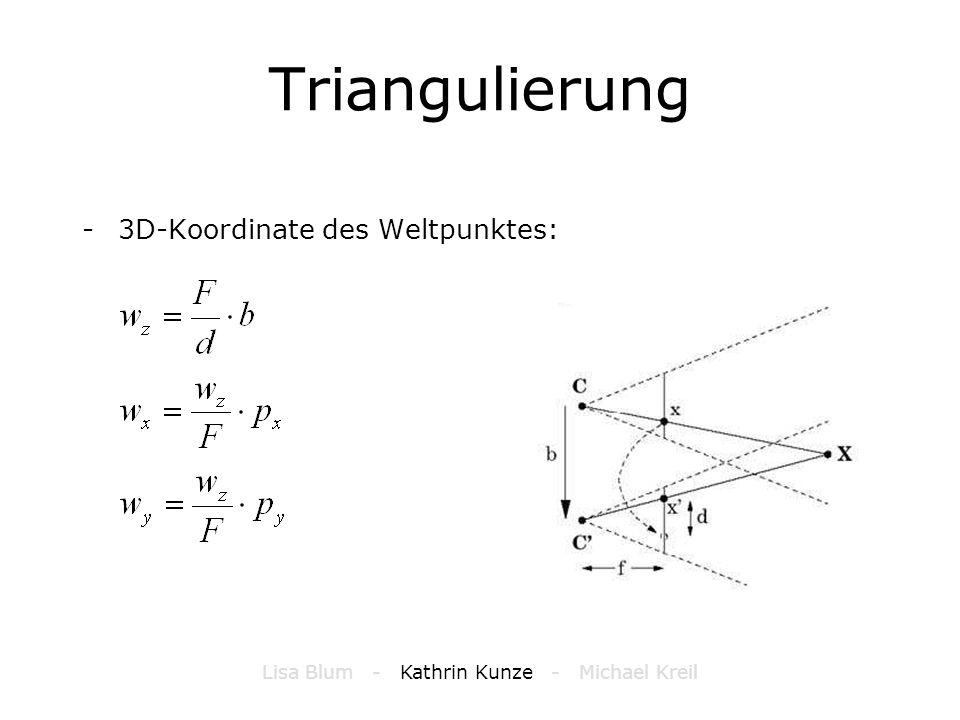 Triangulierung -3D-Koordinate des Weltpunktes: Lisa Blum - Kathrin Kunze - Michael Kreil
