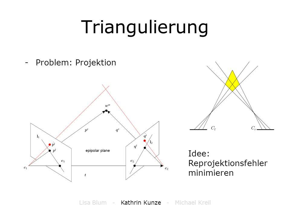 Triangulierung -Problem: Projektion Idee: Reprojektionsfehler minimieren Lisa Blum - Kathrin Kunze - Michael Kreil
