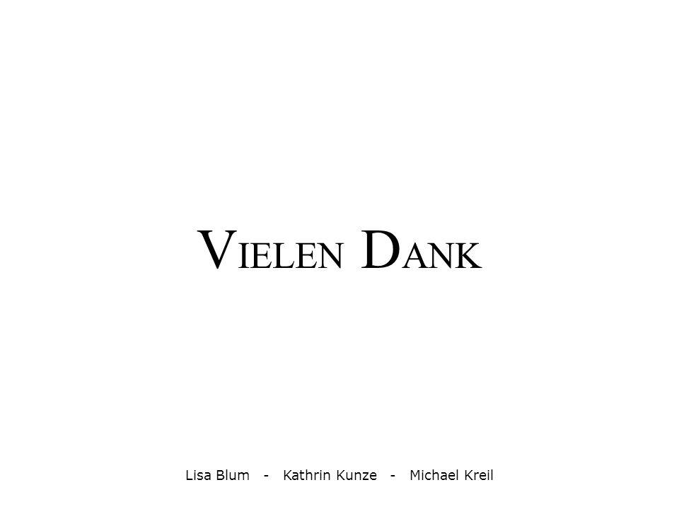 V IELEN D ANK Lisa Blum - Kathrin Kunze - Michael Kreil
