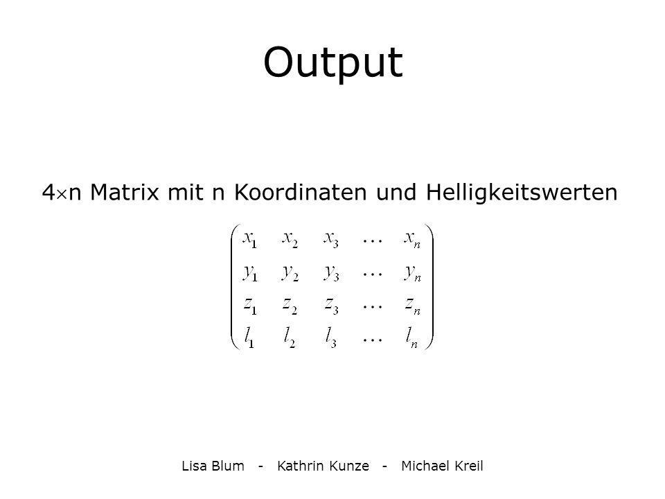 Output 4  n Matrix mit n Koordinaten und Helligkeitswerten Lisa Blum - Kathrin Kunze - Michael Kreil