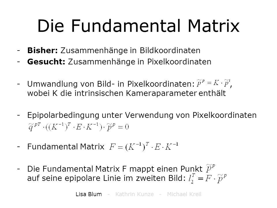 Die Fundamental Matrix -Bisher: Zusammenhänge in Bildkoordinaten -Gesucht: Zusammenhänge in Pixelkoordinaten -Umwandlung von Bild- in Pixelkoordinaten