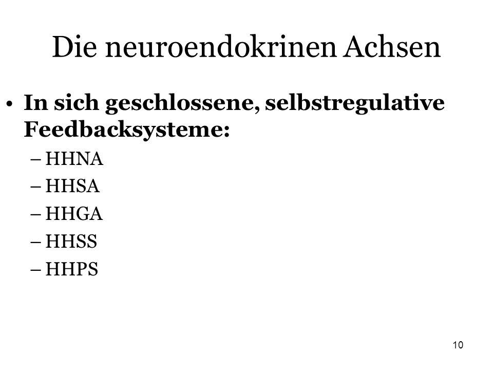 10 Die neuroendokrinen Achsen In sich geschlossene, selbstregulative Feedbacksysteme: –HHNA –HHSA –HHGA –HHSS –HHPS