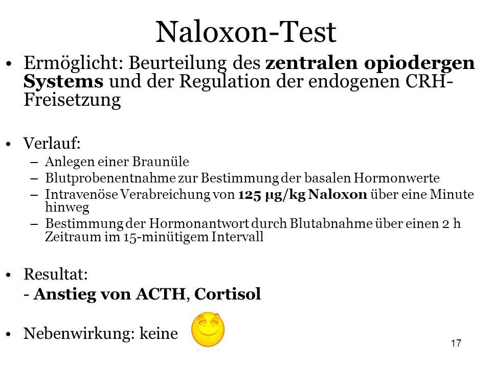 17 Naloxon-Test Ermöglicht: Beurteilung des zentralen opiodergen Systems und der Regulation der endogenen CRH- Freisetzung Verlauf: –Anlegen einer Bra
