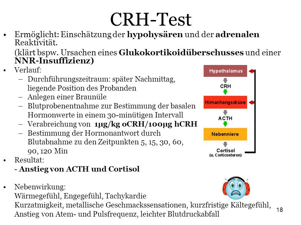 18 CRH-Test Ermöglicht: Einschätzung der hypohysären und der adrenalen Reaktivität. (klärt bspw. Ursachen eines Glukokortikoidüberschusses und einer N
