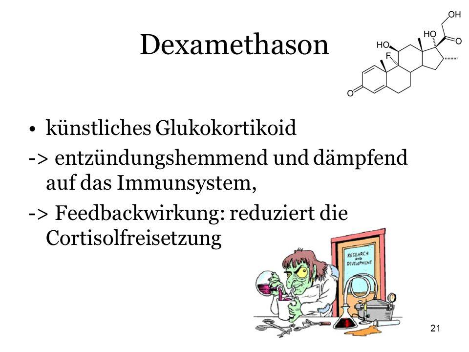 21 Dexamethason künstliches Glukokortikoid -> entzündungshemmend und dämpfend auf das Immunsystem, -> Feedbackwirkung: reduziert die Cortisolfreisetzu