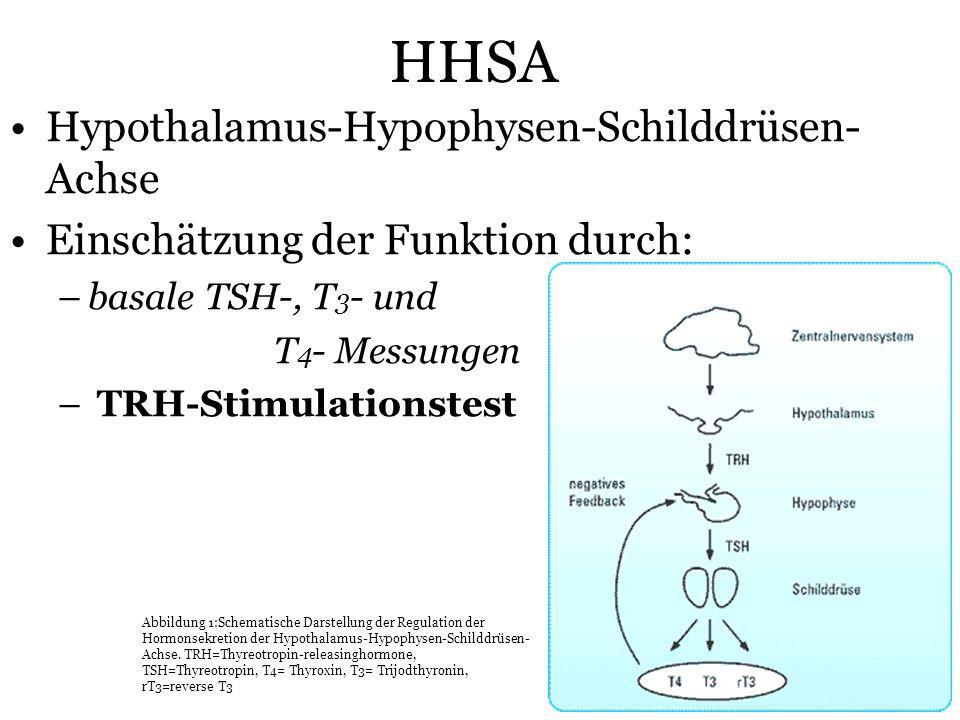 25 HHSA Hypothalamus-Hypophysen-Schilddrüsen- Achse Einschätzung der Funktion durch: –basale TSH-, T 3 - und T 4 - Messungen – TRH-Stimulationstest Ab