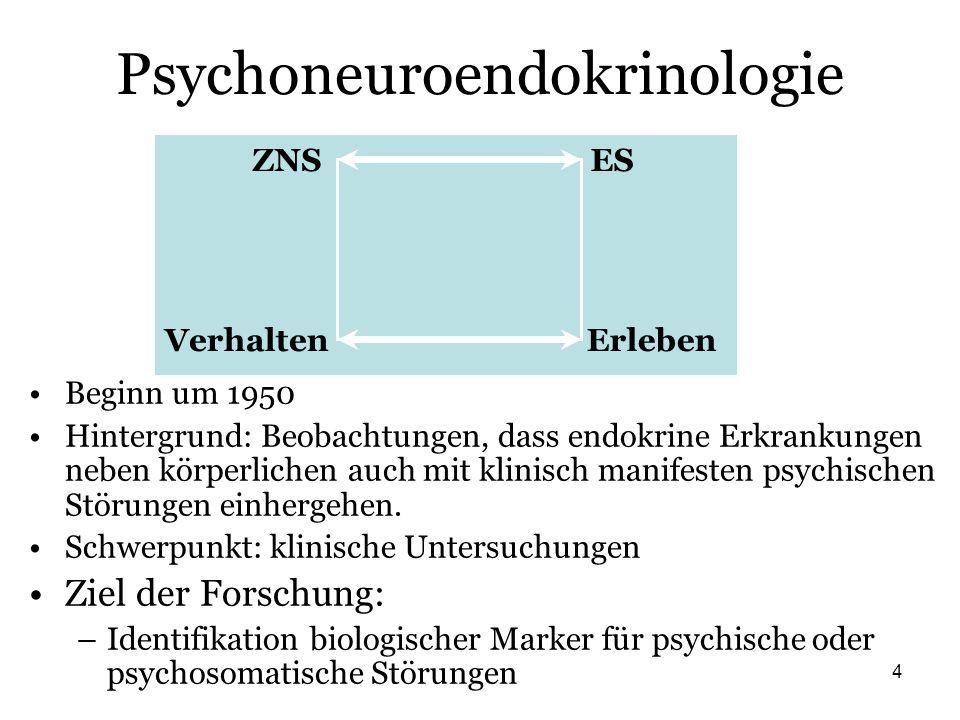 4 Psychoneuroendokrinologie Beginn um 1950 Hintergrund: Beobachtungen, dass endokrine Erkrankungen neben körperlichen auch mit klinisch manifesten psy