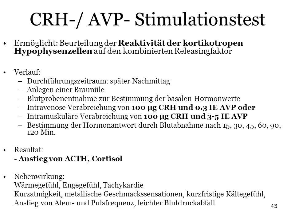 43 CRH-/ AVP- Stimulationstest Ermöglicht: Beurteilung der Reaktivität der kortikotropen Hypophysenzellen auf den kombinierten Releasingfaktor Verlauf