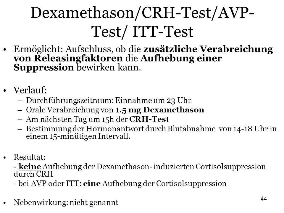 44 Dexamethason/CRH-Test/AVP- Test/ ITT-Test Ermöglicht: Aufschluss, ob die zusätzliche Verabreichung von Releasingfaktoren die Aufhebung einer Suppre