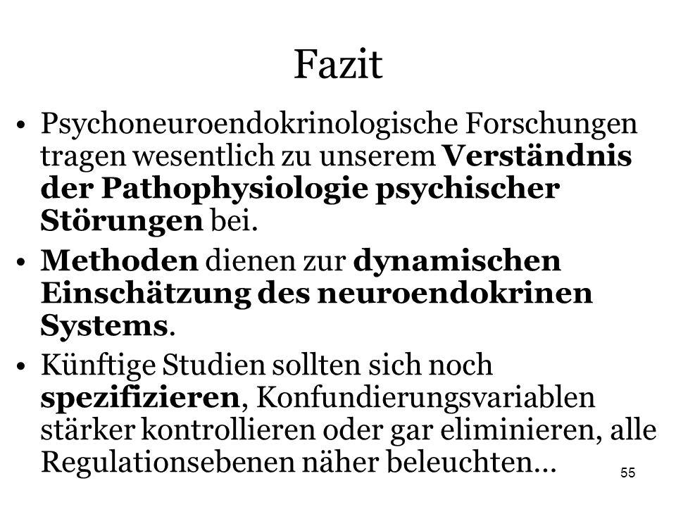 55 Fazit Psychoneuroendokrinologische Forschungen tragen wesentlich zu unserem Verständnis der Pathophysiologie psychischer Störungen bei. Methoden di