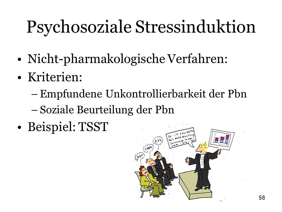 56 Psychosoziale Stressinduktion Nicht-pharmakologische Verfahren: Kriterien: –Empfundene Unkontrollierbarkeit der Pbn –Soziale Beurteilung der Pbn Be