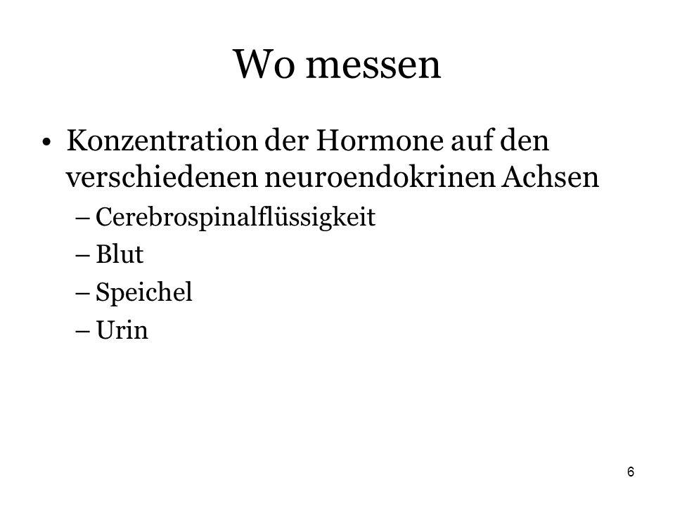 6 Wo messen Konzentration der Hormone auf den verschiedenen neuroendokrinen Achsen –Cerebrospinalflüssigkeit –Blut –Speichel –Urin