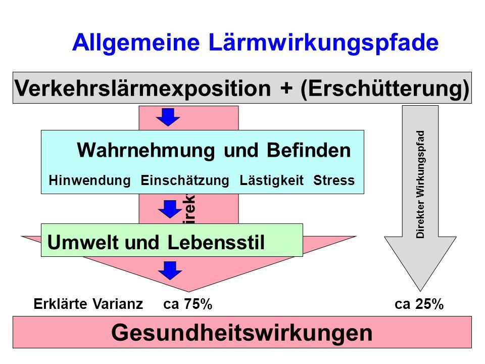 Indirekter Pfad Allgemeine Lärmwirkungspfade Verkehrslärmexposition + (Erschütterung) Gesundheitswirkungen Direkter Wirkungspfad Erklärte Varianz Umwelt und Lebensstil Wahrnehmung und Befinden Hinwendung Einschätzung Lästigkeit Stress ca 75%ca 25%