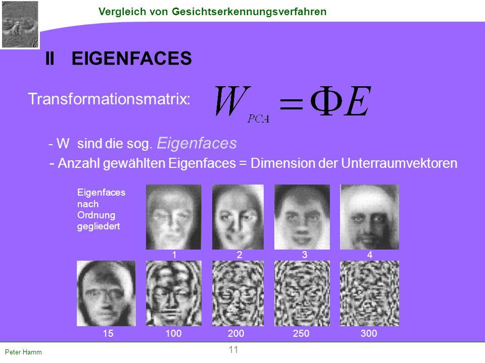 Vergleich von Gesichtserkennungsverfahren Peter Hamm Transformationsmatrix: - W sind die sog. Eigenfaces - Anzahl gewählten Eigenfaces = Dimension der