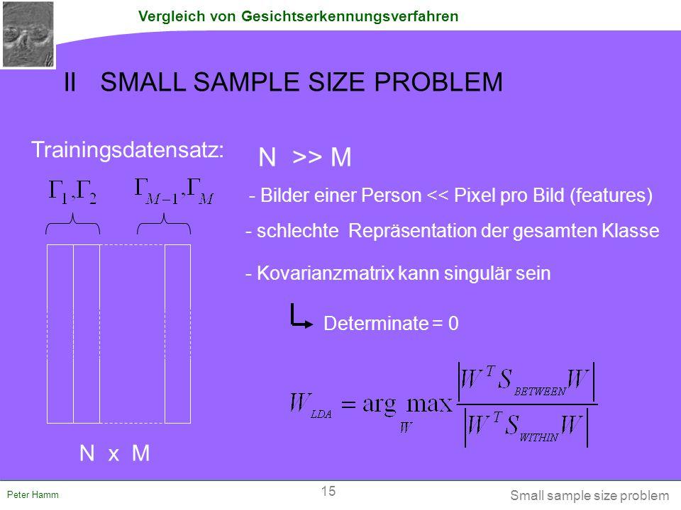 Vergleich von Gesichtserkennungsverfahren Peter Hamm II SMALL SAMPLE SIZE PROBLEM Trainingsdatensatz: N >> M N x M - Bilder einer Person << Pixel pro