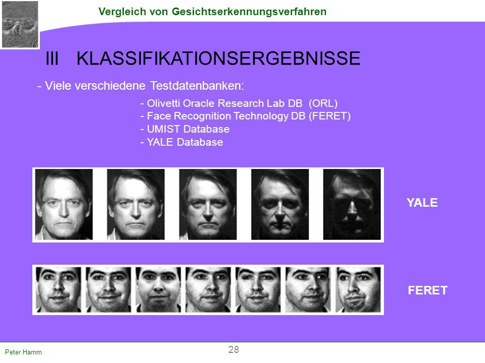 Vergleich von Gesichtserkennungsverfahren Peter Hamm III KLASSIFIKATIONSERGEBNISSE - Viele verschiedene Testdatenbanken: - Olivetti Oracle Research La