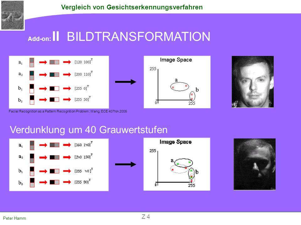 Vergleich von Gesichtserkennungsverfahren Peter Hamm Add-on: II BILDTRANSFORMATION Verdunklung um 40 Grauwertstufen Facial Recognition as a Pattern Re