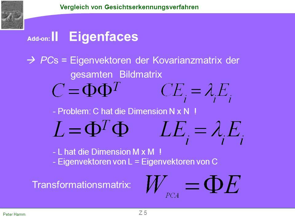 Vergleich von Gesichtserkennungsverfahren Peter Hamm Add-on: II Eigenfaces  PCs = Eigenvektoren der Kovarianzmatrix der _ _ _ _ _ _ _ _ _ gesamten Bi