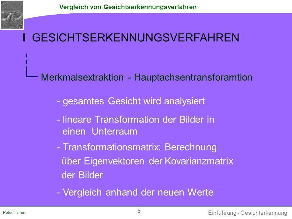 """Vergleich von Gesichtserkennungsverfahren Peter Hamm III ERWEITERTE METHODEN Belhumeur (LDA) - Schritt vor der LDA: Dimensionsreduktion mittels PCA auf M bis minimal (M – Klassenanzahl) - Klassifikation schlechter gegenüber """"reiner LDA ."""