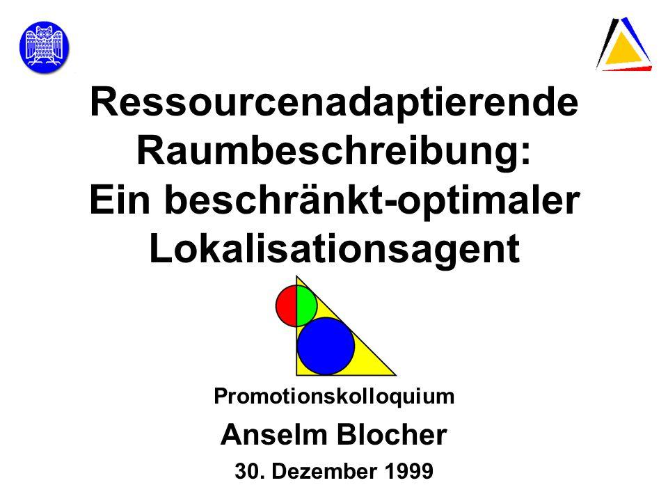 30.12.1999Promotionskolloquium22 Komplexität einer Lokalisationsbeschreibung Lokalisationsbeschreibung Bestes ReferenzobjektRäumliche Relationen Distanz Objektspezifische Merkmale Kontextuelle Merkmale