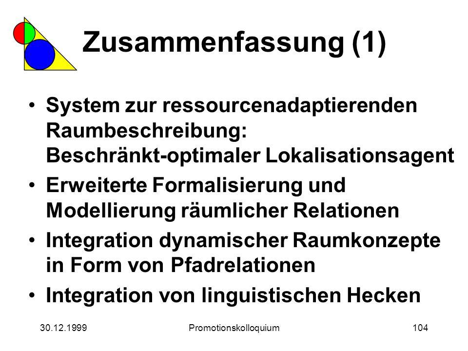 30.12.1999Promotionskolloquium104 Zusammenfassung (1) System zur ressourcenadaptierenden Raumbeschreibung: Beschränkt-optimaler Lokalisationsagent Erw