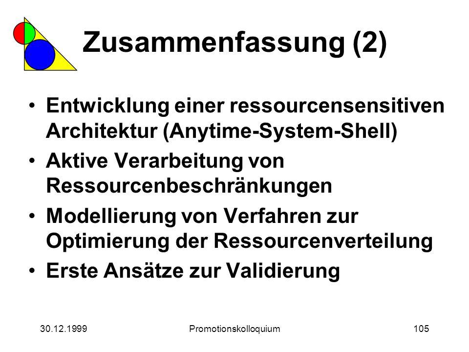 30.12.1999Promotionskolloquium105 Zusammenfassung (2) Entwicklung einer ressourcensensitiven Architektur (Anytime-System-Shell) Aktive Verarbeitung vo