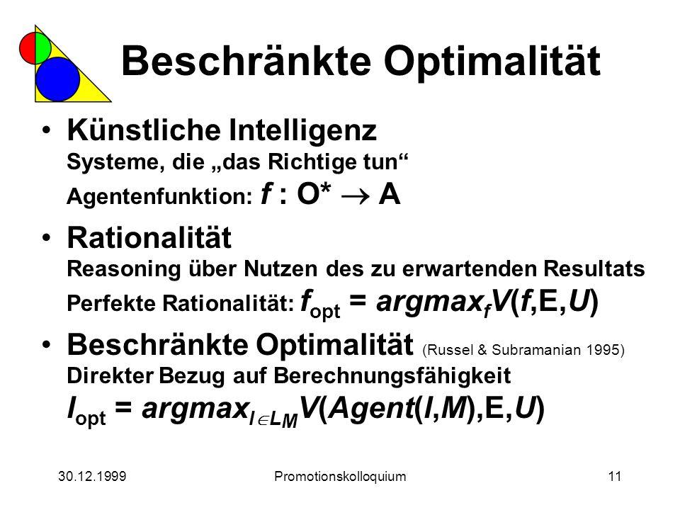 """30.12.1999Promotionskolloquium11 Beschränkte Optimalität Künstliche Intelligenz Systeme, die """"das Richtige tun"""" Agentenfunktion: f : O*  A Rationalit"""