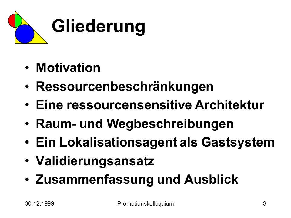 30.12.1999Promotionskolloquium3 Gliederung Motivation Ressourcenbeschränkungen Eine ressourcensensitive Architektur Raum- und Wegbeschreibungen Ein Lo