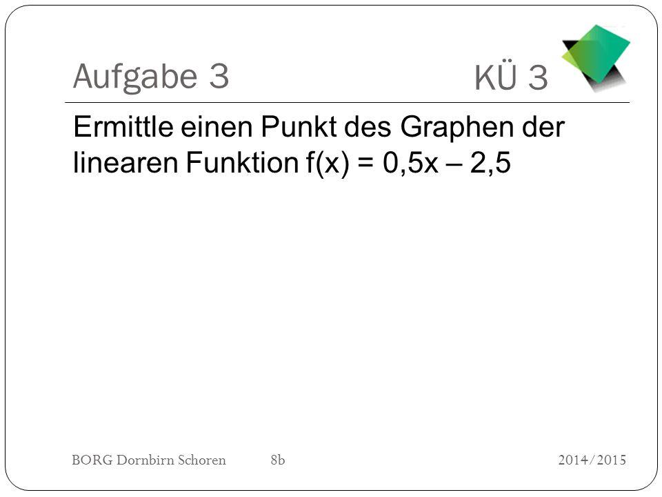 KÜ 3 BORG Dornbirn Schoren 8b2014/2015 Aufgabe 3 Ermittle einen Punkt des Graphen der linearen Funktion f(x) = 0,5x – 2,5
