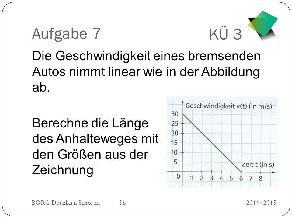 KÜ 3 BORG Dornbirn Schoren 8b2014/2015 Aufgabe 7 Die Geschwindigkeit eines bremsenden Autos nimmt linear wie in der Abbildung ab. Berechne die Länge d