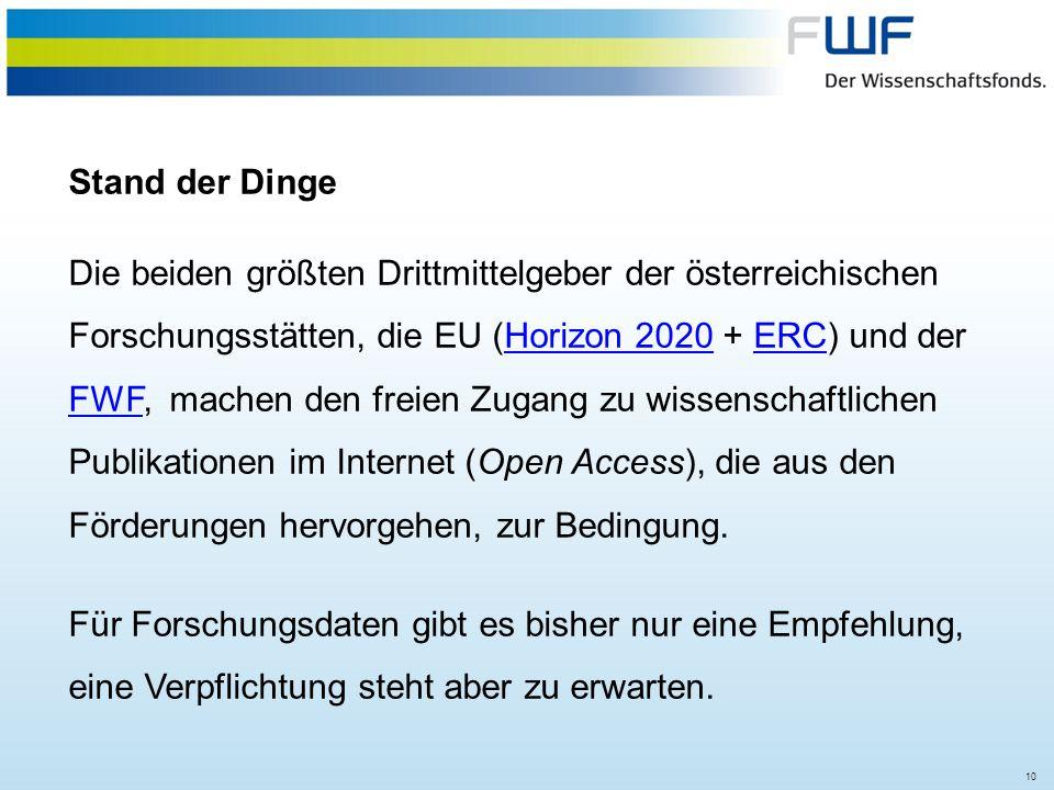 10 Stand der Dinge Die beiden größten Drittmittelgeber der österreichischen Forschungsstätten, die EU (Horizon 2020 + ERC) und der FWF, machen den fre