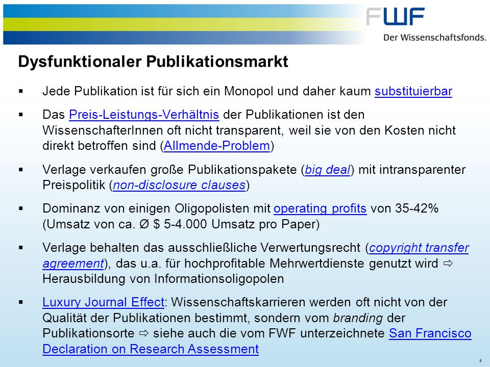 35 Option I: Green Open AccessGreen Open Access FWF Policy = self-deposition of the author's accepted manuscript (after peer-review but prior to publishers copy editing and production) in any sustainable subject or institutional repository after a period of no longer than 12 months.