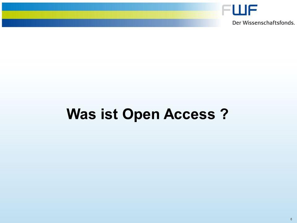 17 Option III: Hybrid Open AccessHybrid Open Access FWF Policy = Freikauf von einzelnen Artikeln in Subskriptionszeitschriften unter Verwendung der Creative Commons Attribution (CC-BY) Lizenz.