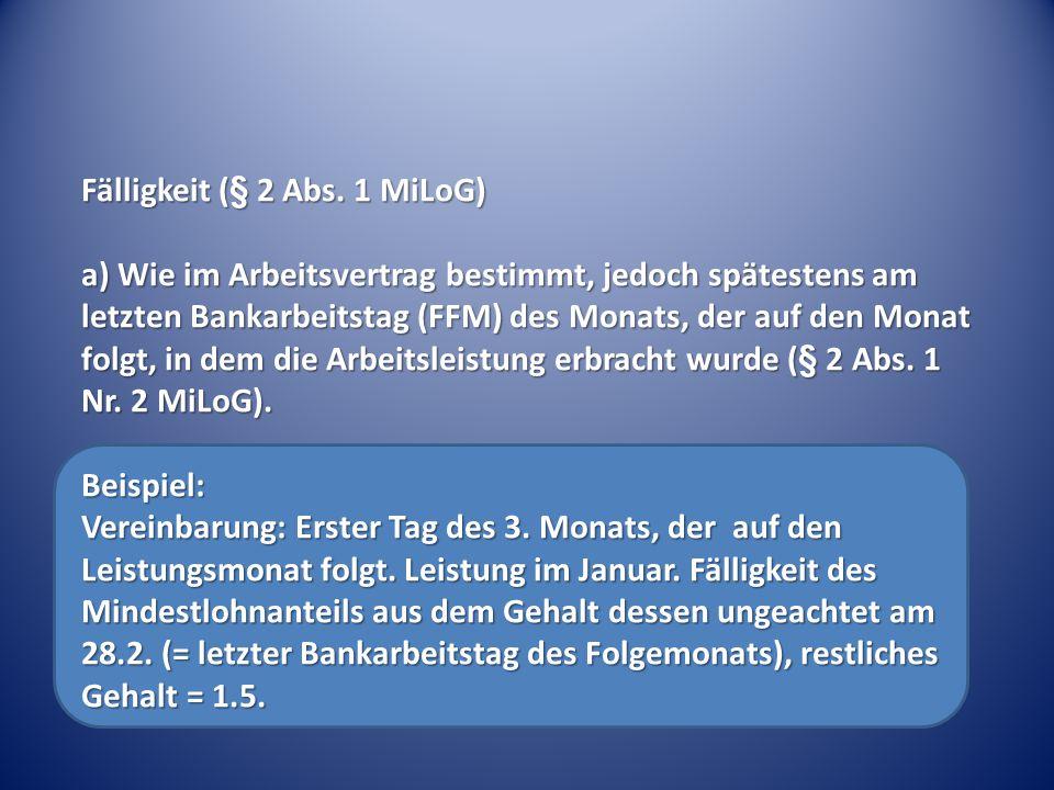 Fälligkeit (§ 2 Abs.